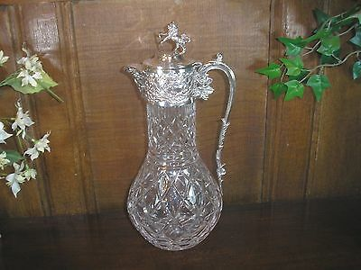 EXCELLENT silver plated TALL/ELEGANT cut glass/crystal CLARET JUG with LION