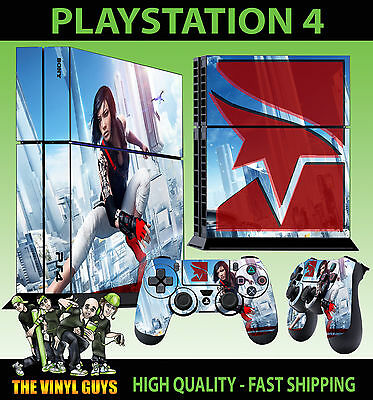 PS4 Skin Mirrors Edge Catalyst Faith Connors Sticker New + Pad decal Vinyl STOOD