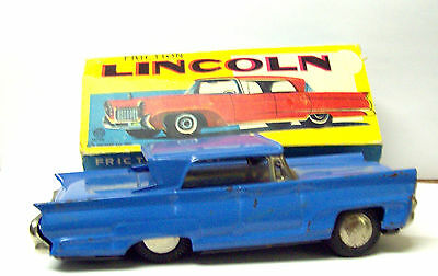 1960s Linemar friction Lincoln tin toy car  made in japan original box to restor