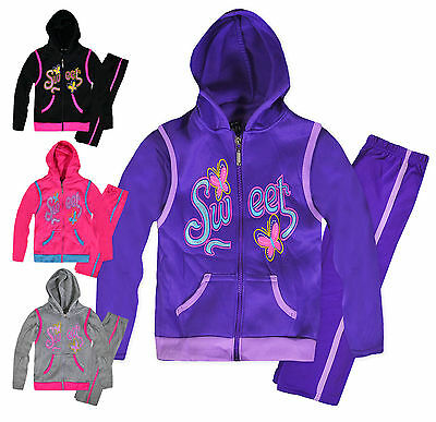 Girls Sweet 3 Piece Tracksuit New Kids Body Warmer Jumper Joggers Outfit 2-5 Yrs