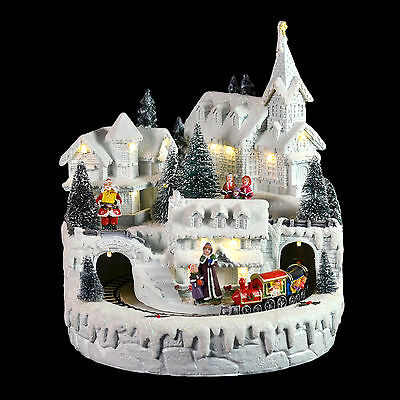 Light Up White LED Christmas Ornament Village Town Painted Resin Decoration
