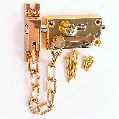 HEAVY DUTY BRASS DOOR CHAIN WITH LOCK BOLT Entrance/Front/Main/Security/Latch