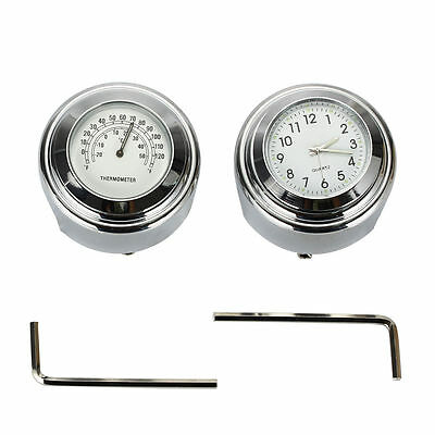 "7/8'' 1""Motorcycle Bike Handlebar Mount white Dial Clock Thermometer Temp MA303"