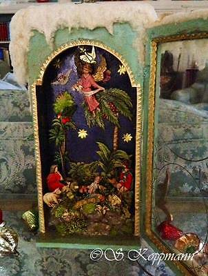 ANTIQUE GERMAN CHROMOLITHOGRAPH in a NATIVITY WINTER DIORAMA