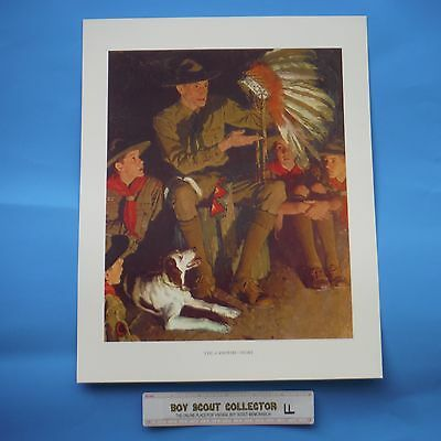 """Boy Scout Norman Rockwell Print The Campfire Story 11""""x14"""""""