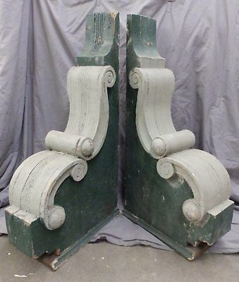 2 Antique Wood Corbels Brackets Victorian Gingerbread Shabby Old Chic 1771-16