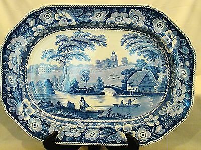 Early Transferware Staffordshire Wild Rose Blue Indented Edge Platter 19thc
