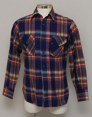 NOS Vintage Mens Robbins Blue/Green/Red/White Plaid Flannel Wool Button Up Shirt