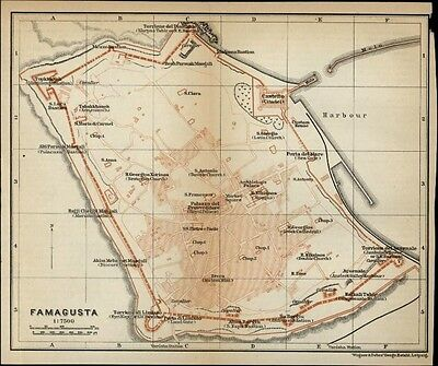 Cyprus Famagusta city plan 1912 detailed antique map Wagner & Debes