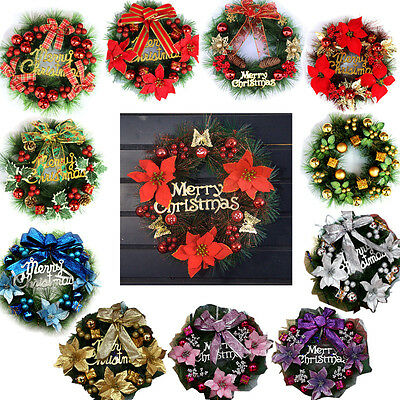 New Christmas Wreath Decoration Multi-Colored Door Ornament Festival Party Decor