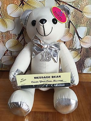 Metallic Silver Signature Message Bear Autograph/Guest HAPPY 18th BIRTHDAY Gift