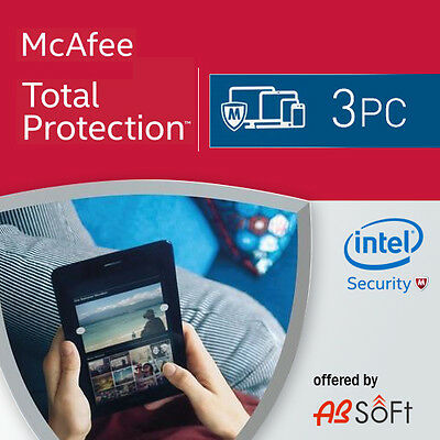 McAfee Total Protection 2019 3 PC 1 Year License Antivirus 2018