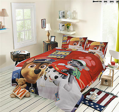 New PAW PATROL SINGLE & DOUBLE SIZE 100% COTTON KIDS BED QUILT DOONA COVER SET