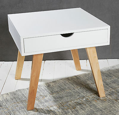 Bedside Table - White - Chic Retro Design - Night Strand Side End Tables Wooden
