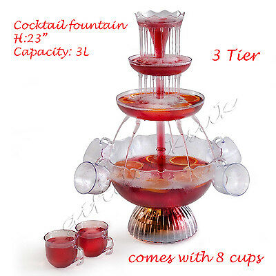 Cocktail Fountain Illuminated Punch Bowl Electric Waterfall beverage drink