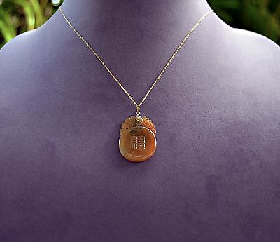 Old China Export Natural Carved Honey HAPPINESS & LUCK JADEITE Pendant 14K Chain