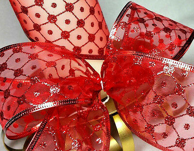 1m  63mm WIRED RED SHEER ORGANZA + GLITTER SPARKLE CHRISTMAS,CRAFT,CAKE FLORIST