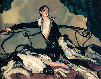 Girl Lady Greyhound Speed Dogs on a Bed by Louis Icart Deco Art Repro FREE SH