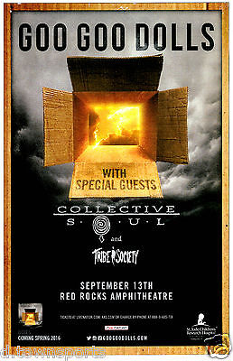 GOO GOO DOLLS w/ Collective Soul 2016 Red Rocks 11x17 Concert Flyer / Gig Poster