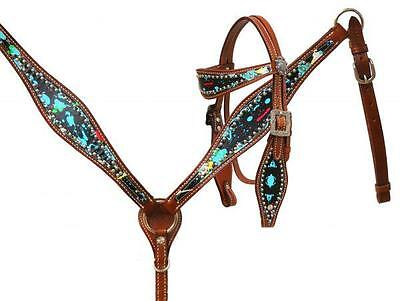 Showman PONY Headstall & Breast Collar Set W/ Paint Splattered Overlay! TACK!