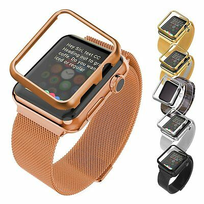 Apple Watch Band 42MM with Protective Case, Bandmax Rose Gold Plated Stainless S