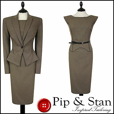 New Next Uk10/8 Us6/4 Brown Dotty Shift Dress Suit 50S Inspired Women Ladie Size
