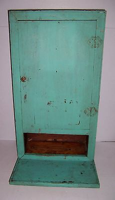 Antique Vintage Wooden Painted Wall Cabinet With Drop Leaf