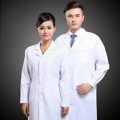 Mens Womens Medical Doctor's Jacket Long Sleeve White Lab Coat Scrub New