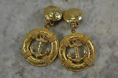 VINTAGE 1980s large gold anchor themed clip EARRINGS drop dangle