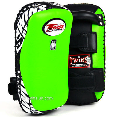 Twins Curved Leather Thai Kick Pads Green Kickboxing MMA Pads