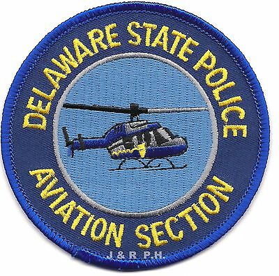 """*NEW* Delaware State Police - Aviation (3.5"""" round) shoulder police patch (fire)"""