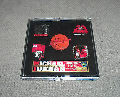 NBA Michael Jordan His Airness Retirement 5 Pin Set + Case Limited Edition New