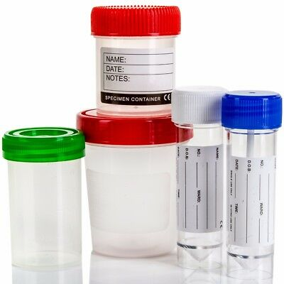 LARGE RANGE MEDICAL SPECIMEN CONTAINER SAMPLE CONTAINER Labelled Pot Jar Top Cup