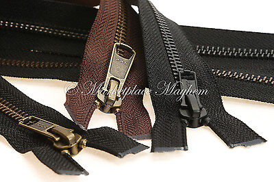 Heavy Duty Zip - Ykk -Open End -N5- Black/brown -Metal - Jacket/coat/boot 6-40""