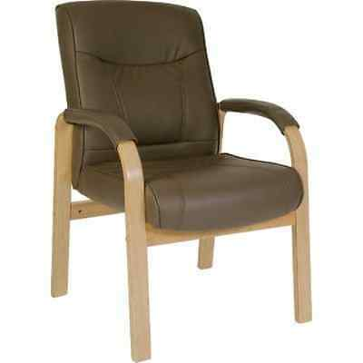 Richmond Leather And Wood Visitor''s Chair in Brown