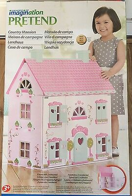 Pink Country Mansion Wooden Dolls House *brand New*