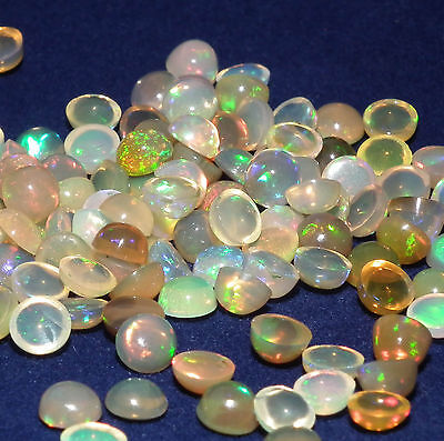 4MM Round Welo Opal Cabochons - Play of Colour Gemstones for Jewellery