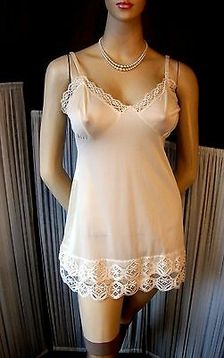 Vintage Cami-Knickers Set Vanilla Silky Nylon & Lace Teddy All In One