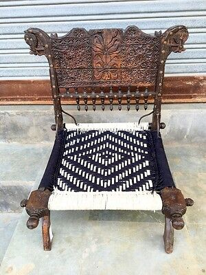1800's Antique Old Wooden Hand Carved Waving Indian Pida Lower Coffee Chair