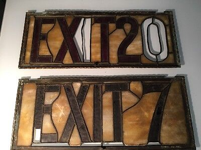 Antique Stained Glass Exit Signs / Lot Of Two / Embassy Theater New York
