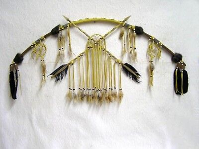 """AUTHENTIC Native American Tohono O'odham Made Bow with Dreamcatchers 47"""""""