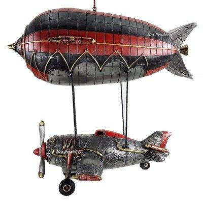 Steampunk Airship Blimp W/ Hanging Propeller Airplane Statue Figuring