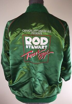 Rod Stewart Tour 84 Canada Dry Ginger Ale Satin Jacket L Super RARE