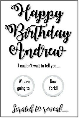 Personalised Birthday scratch off card reveal surprise holiday trip