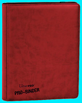 ULTRA PRO 9 POCKET PREMIUM LEATHERETTE RED BINDER STORAGE 360 Card 20 Pages