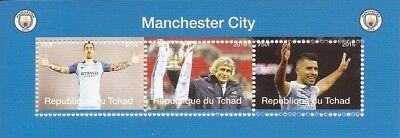Chad - 2016 Manchester City Football - 3 Stamp Strip - 3B-459