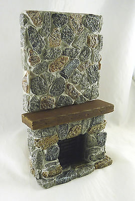 Dollhouse Miniature Ceiling High Rustic Stone Fireplace,YM0223