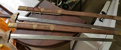 A Pair of Antique Vintage Oriental Chinese Swords