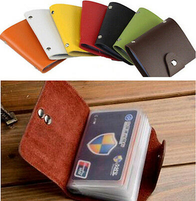 Women Men Leather Pocket 24Card ID Credit Card Holder Case Purse Business Wallet