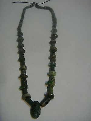 Pre Columbian Jade Necklace Mayan Period 1000+ Years Authentic Beautiful Color